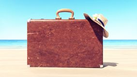 Leather suitcase on the beach, travel background. 3D Rendering stock photo