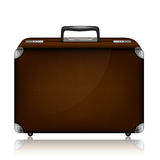 Leather suitcase with combination lock and metal c Stock Photos