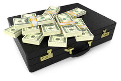 Leather suitcase with dollars 3d Royalty Free Stock Image