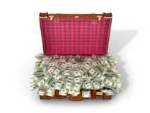 Leather suitcase with money, dollars in a suitcase. On a white background. 3D illustration Stock Image