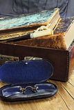 Leather suitcase with old books Royalty Free Stock Image