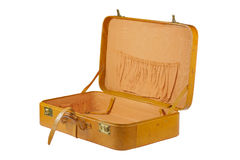 Leather suitcase open Stock Photography