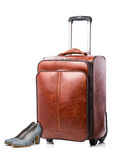 Leather suitcase and pair of shoes Stock Image