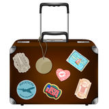 Leather suitcase with retractable handle for trave Royalty Free Stock Photography