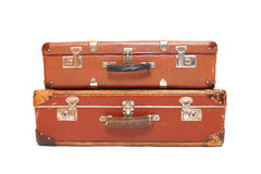 Leather suitcase. Stock Photo