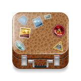 Leather suitcase with stickers Stock Photos