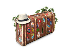 Leather suitcase. Of a traveler with travel stickers Stock Image