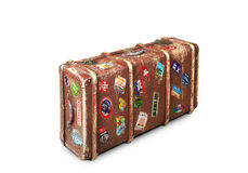 Leather suitcase. Of a traveler with travel stickers royalty free stock image