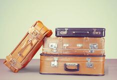 Leather suitcases Royalty Free Stock Photo