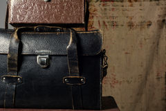 Leather suitcases old photographer Stock Images
