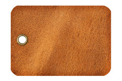 Leather Tag. With metal grommet isolated on a white background Stock Photo