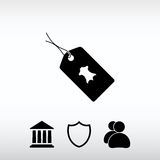 Leather tag icon, vector illustration. Flat design style stock images