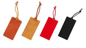 Leather tags with leather cord set, price tag for christmas, new Stock Images
