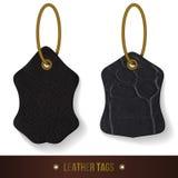 Leather tags set. Skin texture. Stock Photos