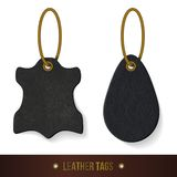 Leather tags set. Skin texture. Vector illustration Stock Photos