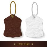 Leather tags set. Skin texture. Vector illustration Stock Image