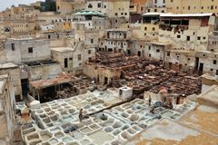 Leather tanneries in Fes, Morocco Stock Photos