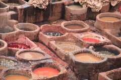Leather tanneries, Fes Stock Photo