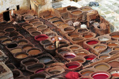 Leather Tannery. A leather tannery in situated in Fes Stock Image