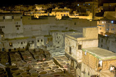 Leather tannery at night. In Fes, Morocco Royalty Free Stock Photos