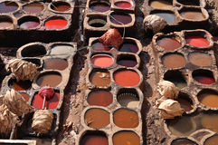 Leather tanning in Fes Stock Image