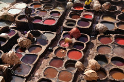 Leather tanning in Fes, Morocco. Leather tanning in a traditional tannery of Fes, Morocco Stock Images