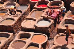 Leather tanning in Fez , Morocco Stock Images
