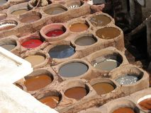 Leather tanning in Fez. Traditional leather tanning in Fez, Morocco stock photos