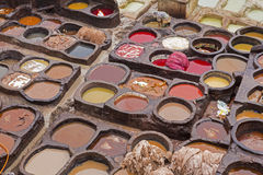 Leather tanning in Morocco. North Africa Stock Photography