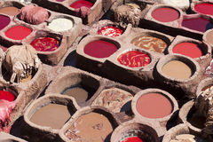 Leather tanning in North Africa Stock Image