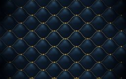 Leather texture. Abstract polygonal pattern luxury dark blue with gold stock illustration