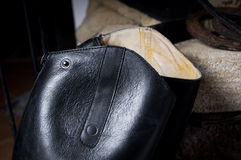 Leather texture of black riding-boots backround Stock Photography