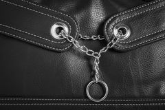 Leather texture with chain and ring. Leather texture background with chain and ring Royalty Free Stock Image