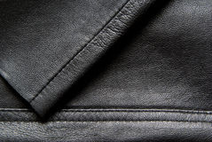 Leather texture - clothing detail. Closeup of black leather trousers with mold mark or seam, abstract background Royalty Free Stock Image
