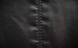 Leather texture colose-up with linear stiches Royalty Free Stock Image