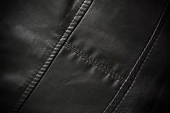 Leather texture colose-up with linear stiches Stock Photos