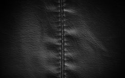 Leather texture colose-up with linear stiches. Stock Photo
