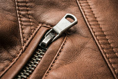 Leather texture with metal zipper Stock Image