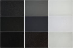 Leather texture set, three different textures in black, gray and white Stock Image