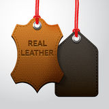 Leather texture tags set Stock Images
