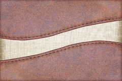 Leather textured with fabric Royalty Free Stock Images