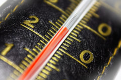 Leather thermometer. With white vignette Stock Photos