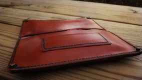 Handmade leather tobacco pouch stock photos