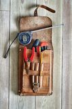 Leather tool bag Royalty Free Stock Image