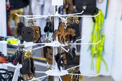 Leather trinkets. A Leather trinkets for keys stock photography
