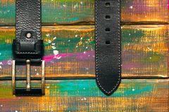 Leather trouser belt with a buckle Royalty Free Stock Photo