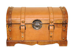 Leather trunk. Leather travel case / trunk - closed stock photography