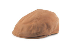 Leather Tweed Cap. Leather tweed/twill golf cap isolated on white Royalty Free Stock Images