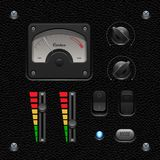 Leather UI Application Software Controls Set. Switch, Knobs, Button, Lamp, Volume, Equalizer, Voltmeter, Speedometr. Royalty Free Stock Photography