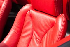 Leather upholstery of a car seat.  Stock Photo